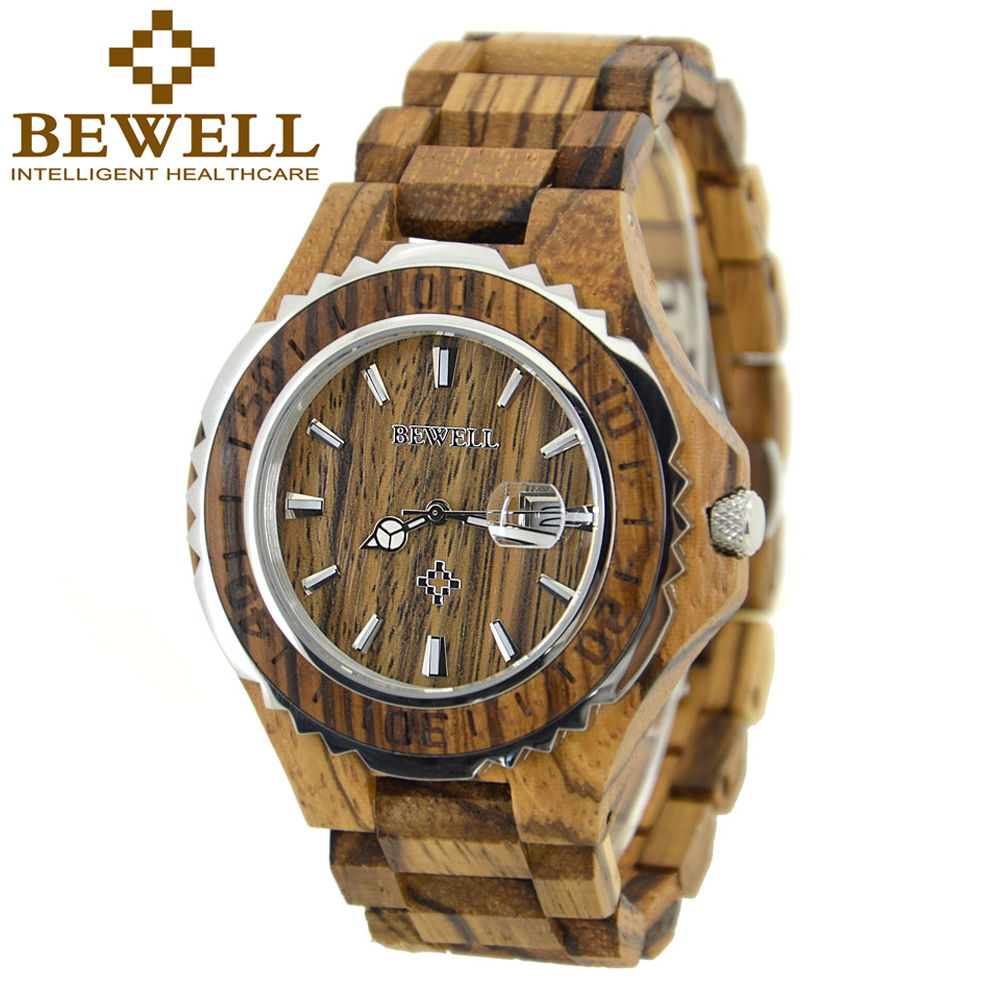 Подробнее о BEWELL Wood Watch Men Luxury Quartz Analog Calendar Display Boys Watches Waterproof Wristwatch Mens Relogio Masculino Box 100BG japan style men s watch natural wooden wristwatch wood quartz watch box nice gifts for men relogio masculino 2016 luxury brand