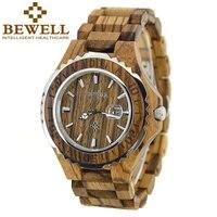 BEWELL drewniany zegarek mężczyźni luksusowy zegarek kwarcowy analogowy wyświetlanie kalendarza chłopcy zegarki zegarek wodoodporny mężczyzna Relogio Masculino Box 100BG w Zegarki kwarcowe od Zegarki na