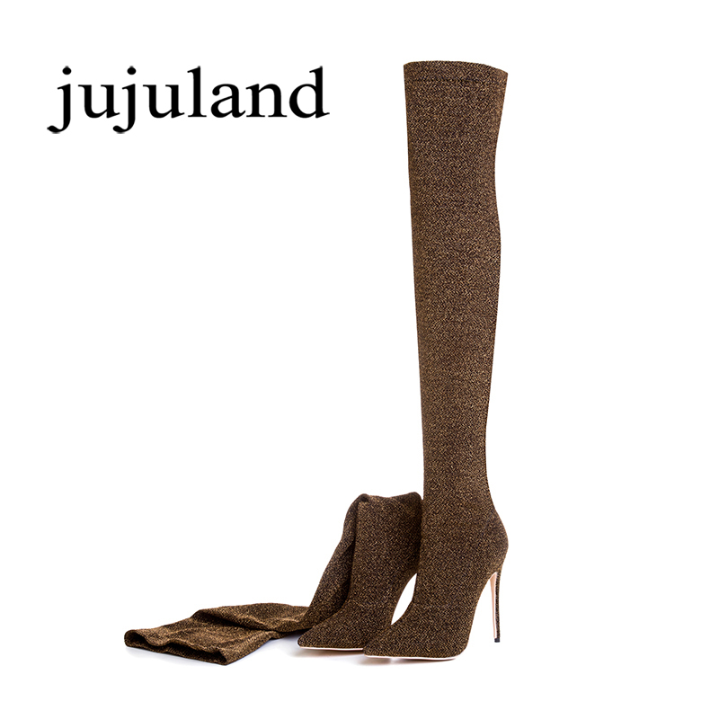 Spring/Autumn Women Shoes Over-the-Knee Boots High Thin Heels Fashion Sexy Pointed Toe Big Size Solid Rome Stretch Fabric цены онлайн