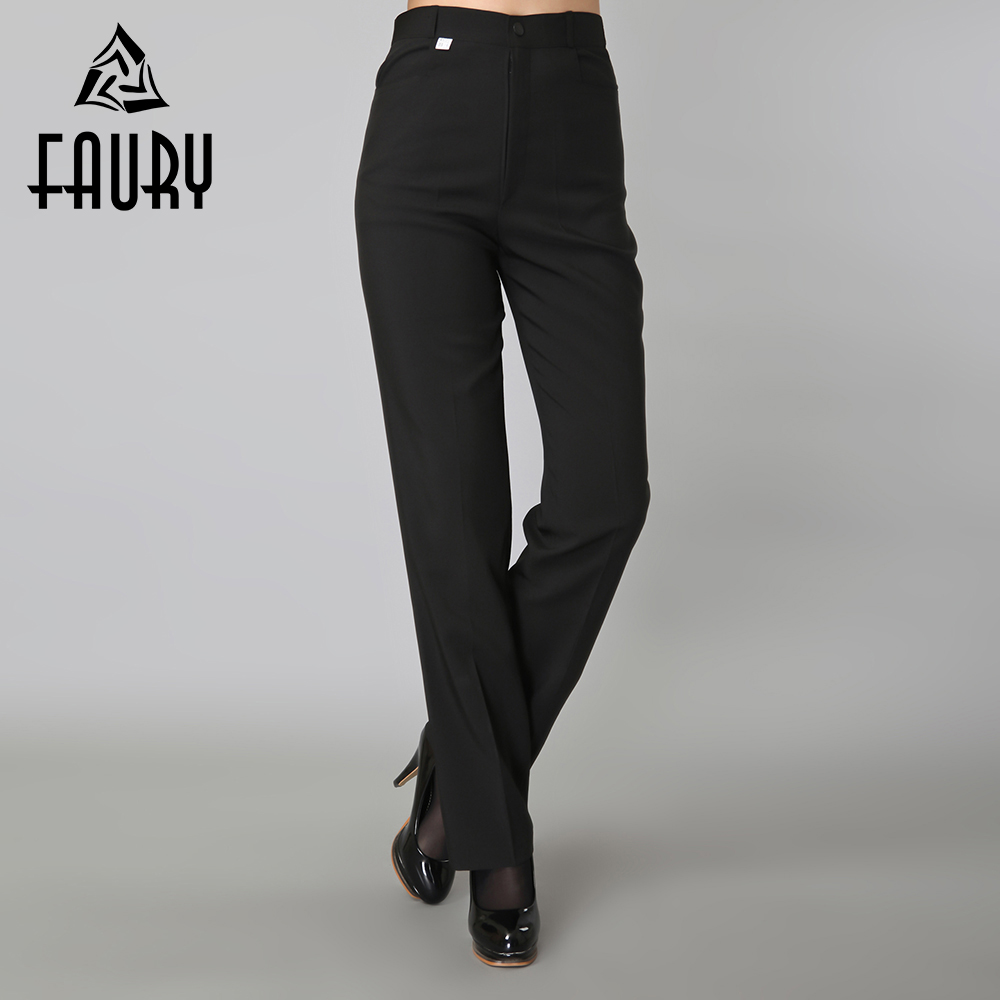 Women Black Work Pants Pockets Long Straight Pants Business Suit Pants Catering Restaurant Waitress Wear Spring Uniforms Pant