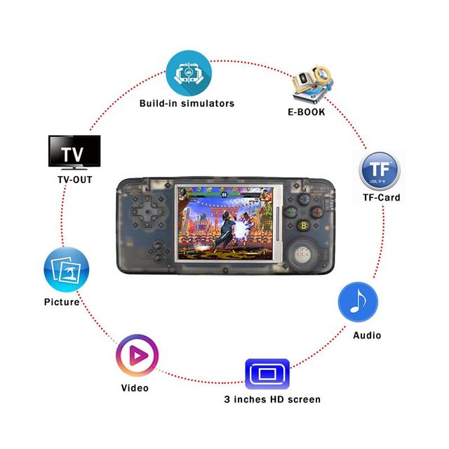 RS-97 Classic Retro Handheld Game Console Video Game Player 3.0 inch Screen 16GB Portable Games Player Built-in 3000 Games