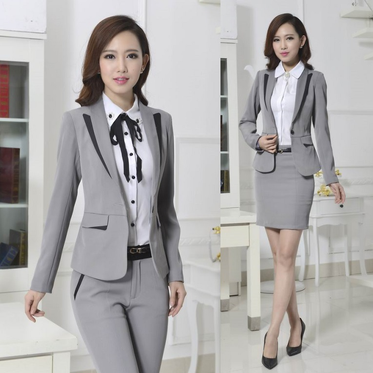 8d758abc98 Formal Pantsuits Pant Suits for Women Work Wear Gray Blazer Sets Ladies  Office Uniform Styles Free Shipping-in Pant Suits from Women s Clothing on  ...