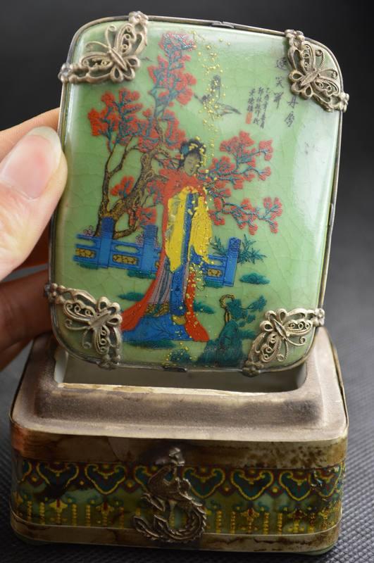 Crafts statue Vintage Collectibles Handwork Porcelain Drawing Belle Inside Make L0ve Jewel Box halloween