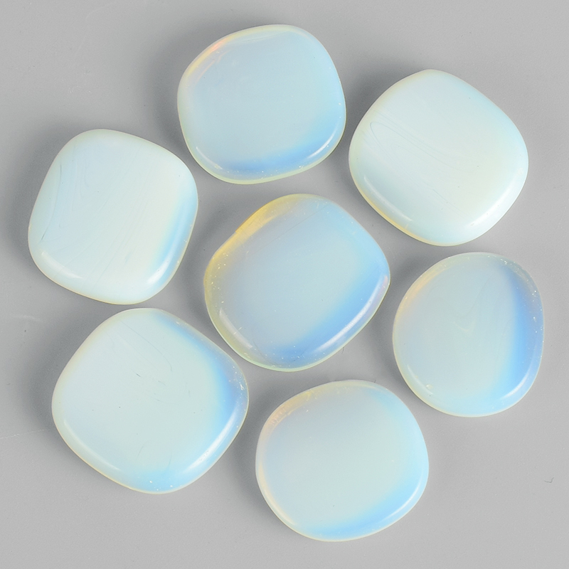 28*25*7mm Palm Stone gemstone natural opalite Healing quartz Crystal therapy craft Lettering Reiki treatment Minerals stones