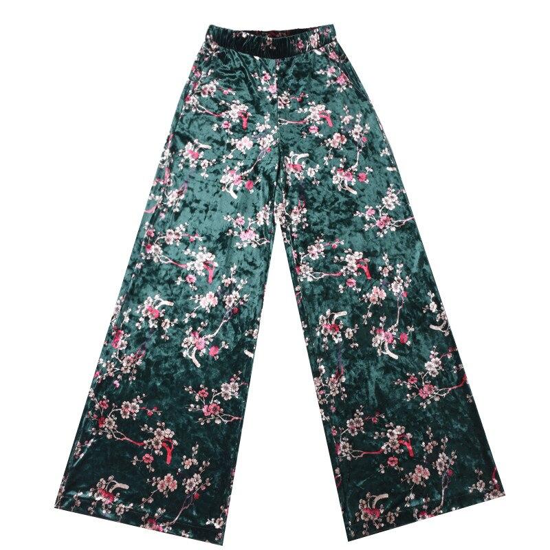 Invierno navy Pantalón Otoño Blue Terciopelo Vintage Pantalones Imprimir Ancho Anchas Suelta Ma50114 Cintura De Green ink Mujeres Elástico Floral Patas Black Flor XYxwUw45q