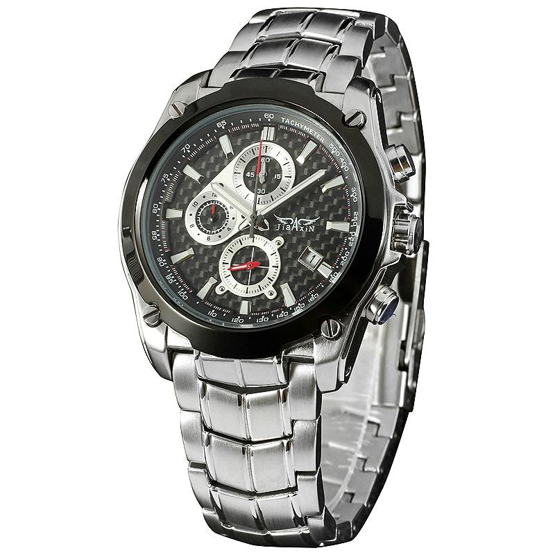 ФОТО Men Sports Outdoor Quartz Wrist Watch Stainless-steel Band Auto Date Tachometer Fashion Design  + BOX