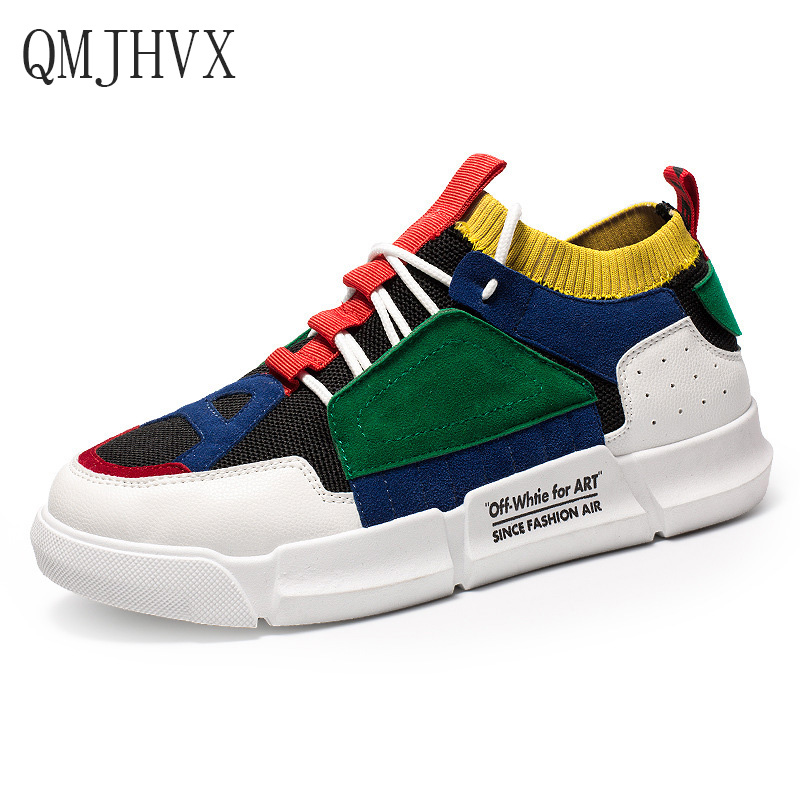 QMJHVX 2019 New Spring Fashion Brand Leisure Shoe Men Classic White Shoe Patchwork Lace Up Youth Male Casual Shoes Sneakers