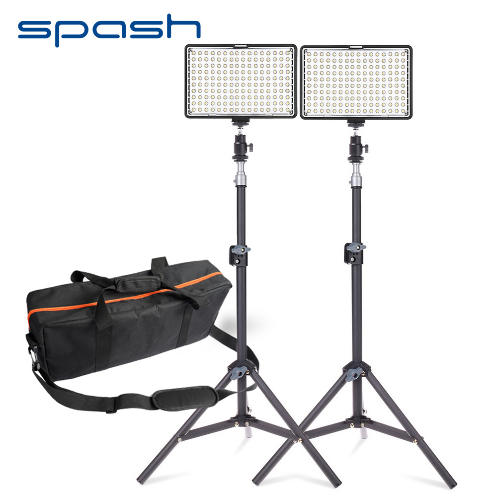 spash 160 LED Video Light Studio Lighting Lamp 2 in 1 Kit Dimmable 3200K-5600K Professional Photographic Lighting Set TL-160S rc drones quadrotor plane rtf carbon fiber fpv drone with camera hd quadcopter for qav250 frame flysky fs i6 dron helicopter