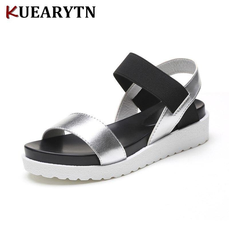 2018 nueva venta caliente Sandalias de Mujer verano Zapatos Peep-toe zapatos planos, Sandalias Mujer, Sandalias de las señoras Flip Flops Sandalias