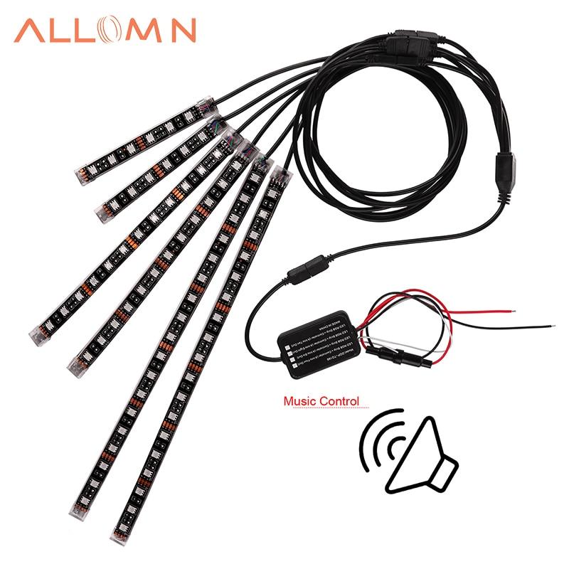 aliexpress com   buy allomn 6pcs rgb vioce control led car motorcycle glow lights 5050 smd