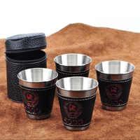 4 teile/los 70 ml Outdoor Camping Geschirr Reise Tassen Set Picknick Liefert Edelstahl Wein Bier Tasse Whisky Becher PU leder