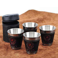 4pcs/lot 70ml Outdoor Camping Tableware Travel Cups Set Picnic Supplies Stainless Steel Wine Beer Cup Whiskey Mugs PU Leather