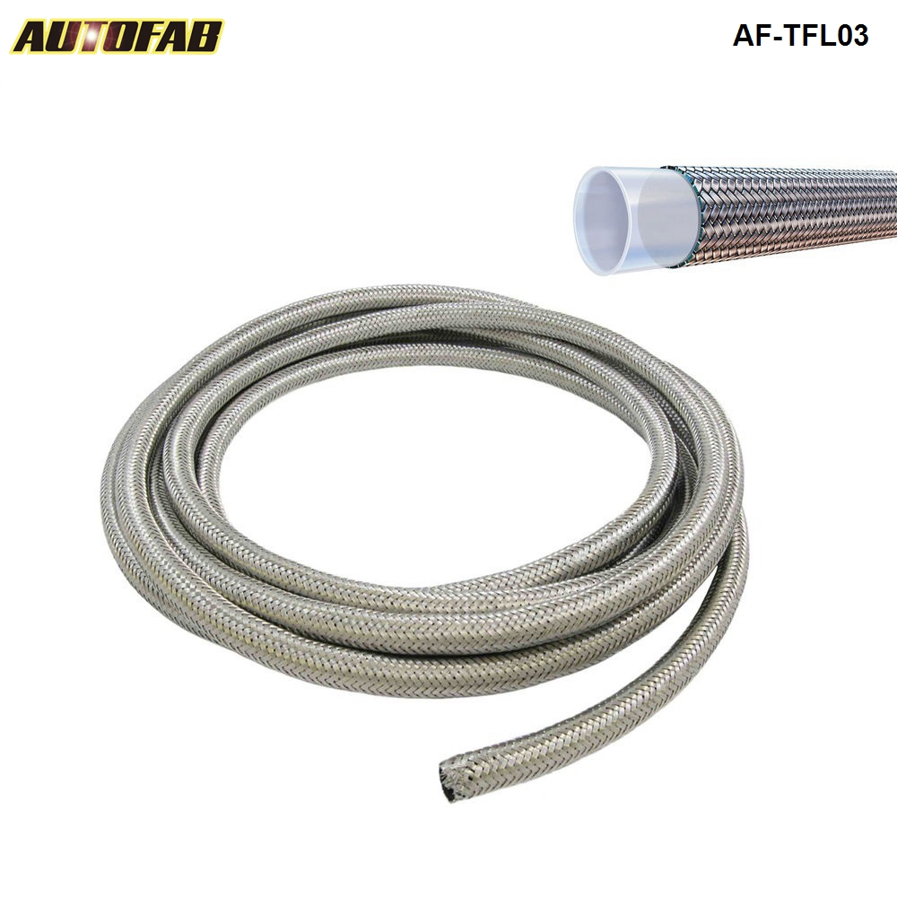 AUTOAFB 50M AN3 ID 1 8 Braided SS PTFE Teflon Brake Hose Car Motorcycle Hydraulic Brake