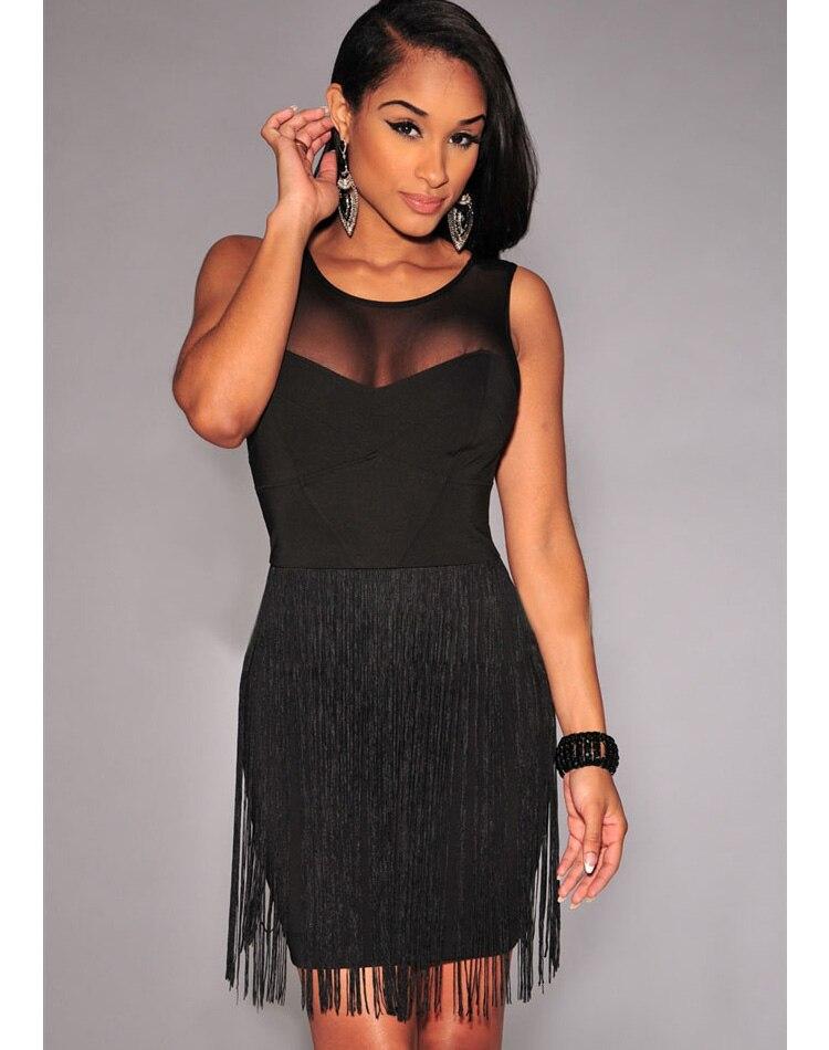 Sexy summer dress dla kobiet mesh przeszycia pokaż uroczą krzywej fringe mini dress cb9652