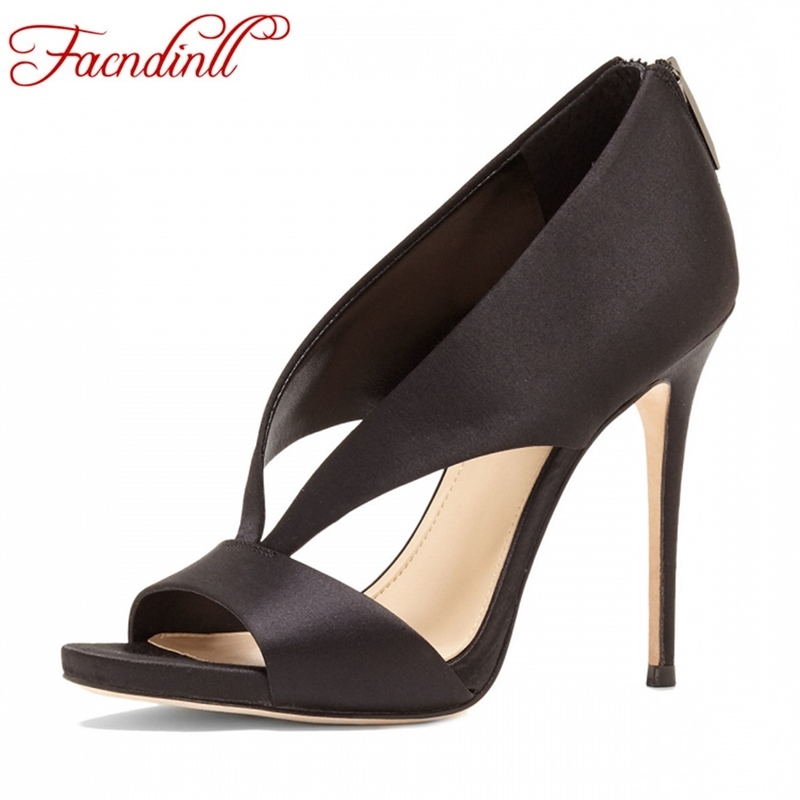 FACNDINLL women pumps new sexy thin high heels peep toe shoes woman dress party wedding shoes black white summer office shoes купить