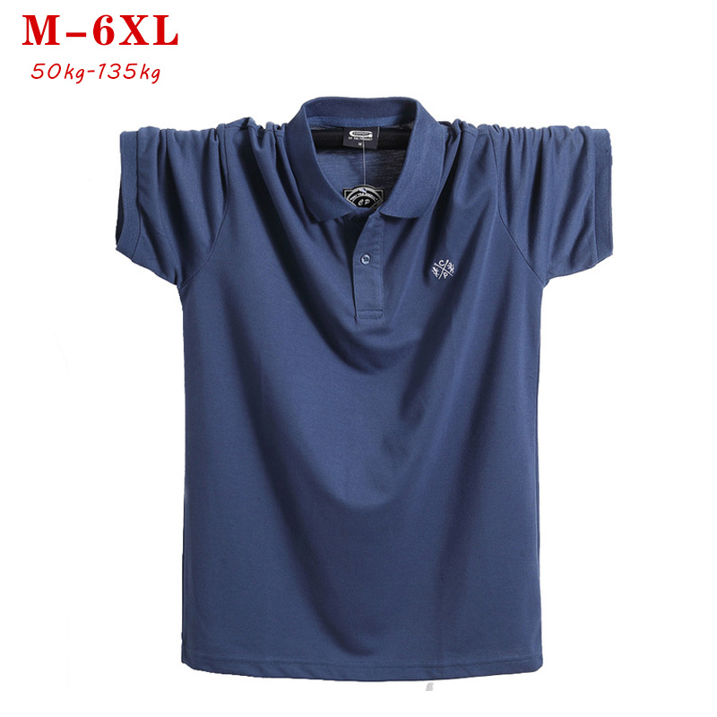 2019 Summer Men Big Tall   Polo   Shirt Brand Clothing Pure blue Cotton Men Casual   Polo   Shirt Short Sleeve   Polo   plus size 5XL 6xl