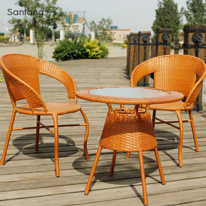 Coffee Table And Chair Sets: Three Outdoor Leisure Rattan Chair Don Coffee Table And