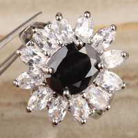 Beauty Flowers Black Onyx White Cubic Zirconia 925 Sterling Silver Fashion Party Jewelry Rings Size 6