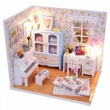 Миниатюрная фортепиано домик светодиодной кукольный комплекты со деревянный дом наборы мебель