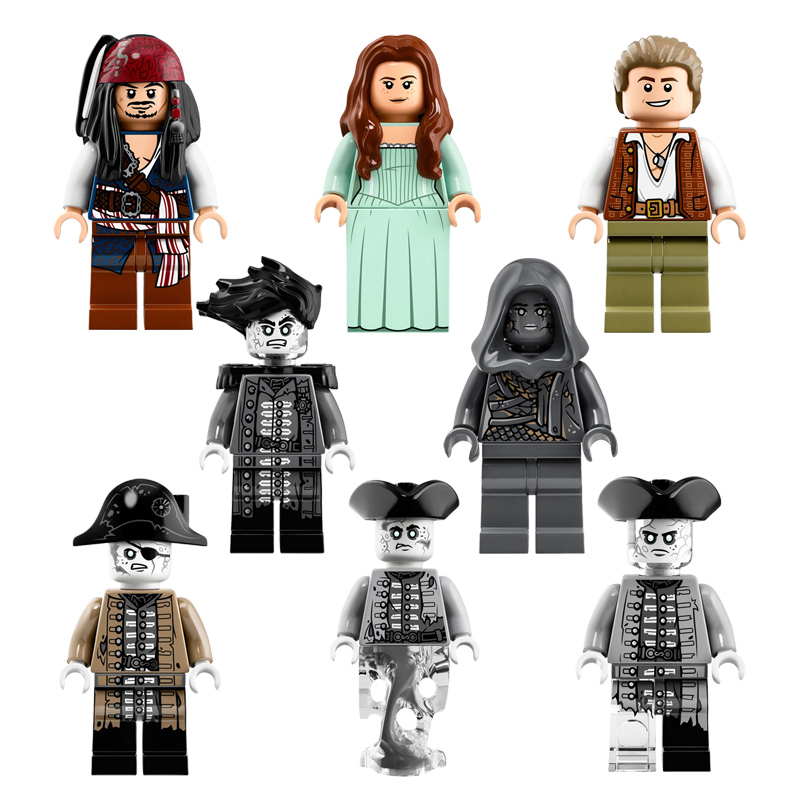 POGO 8pcs PG8048 Pirates of the Caribbean Lesaro Captain Jack Edward Mermaid Davy Jones  ...