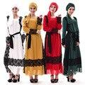 Oriente médio borda Do Laço vestido Turco Abaya Muçulmano roupas femininas Islâmico Senhora Vestidos Longos Abayas e Jilbabs Dubai kaftan Branco