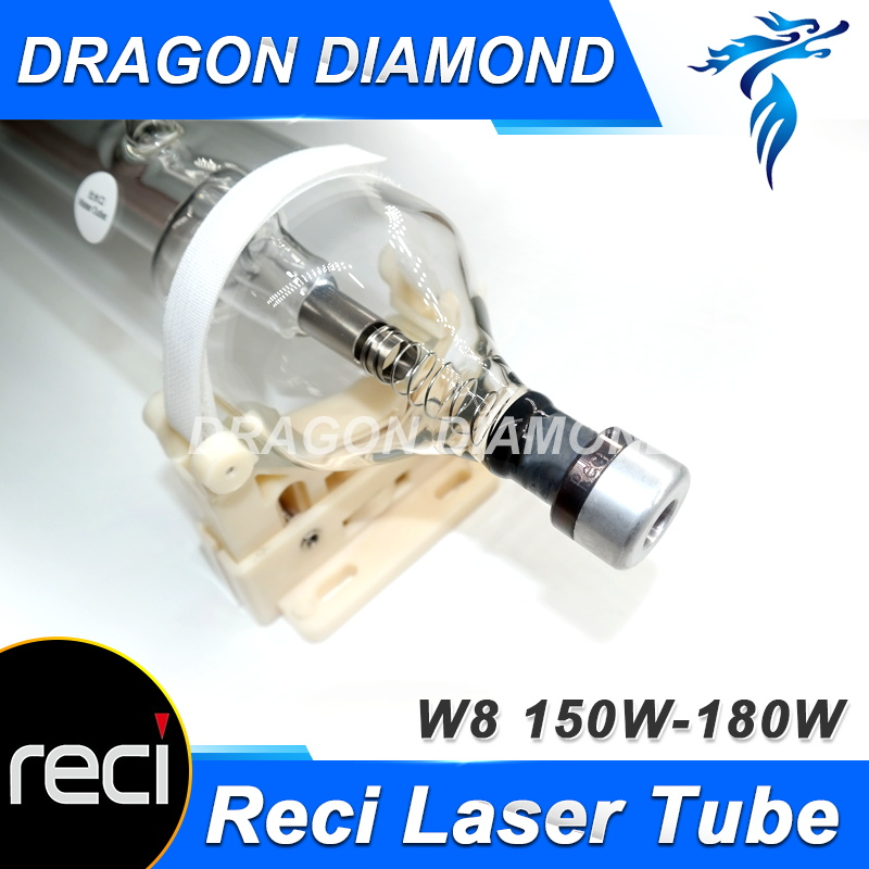Reci W8 150W CO2 Laser Tube for CO2 Laser Engraving Cutting Machine Upgrade S8 Z8 Length 1850 Dia. 90mm Wooden Case Box Packing reci w4 laser tube co2 100w upgrade z4 glass tube for laser engraving cutting machine