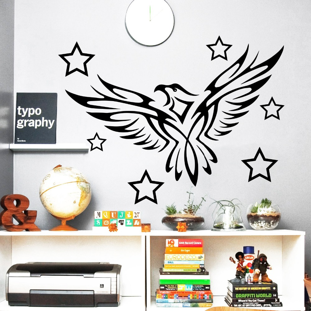 Wall Decals Eagle Bird Predator Tattoo Star Nursery Room Vinyl Sticker