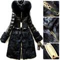 Luxo 2016 Mulheres Jaqueta de Inverno Para Baixo casaco parka de pele de raposa capuz preto longo fino casaco para baixo das mulheres casacos casacos parkas marca