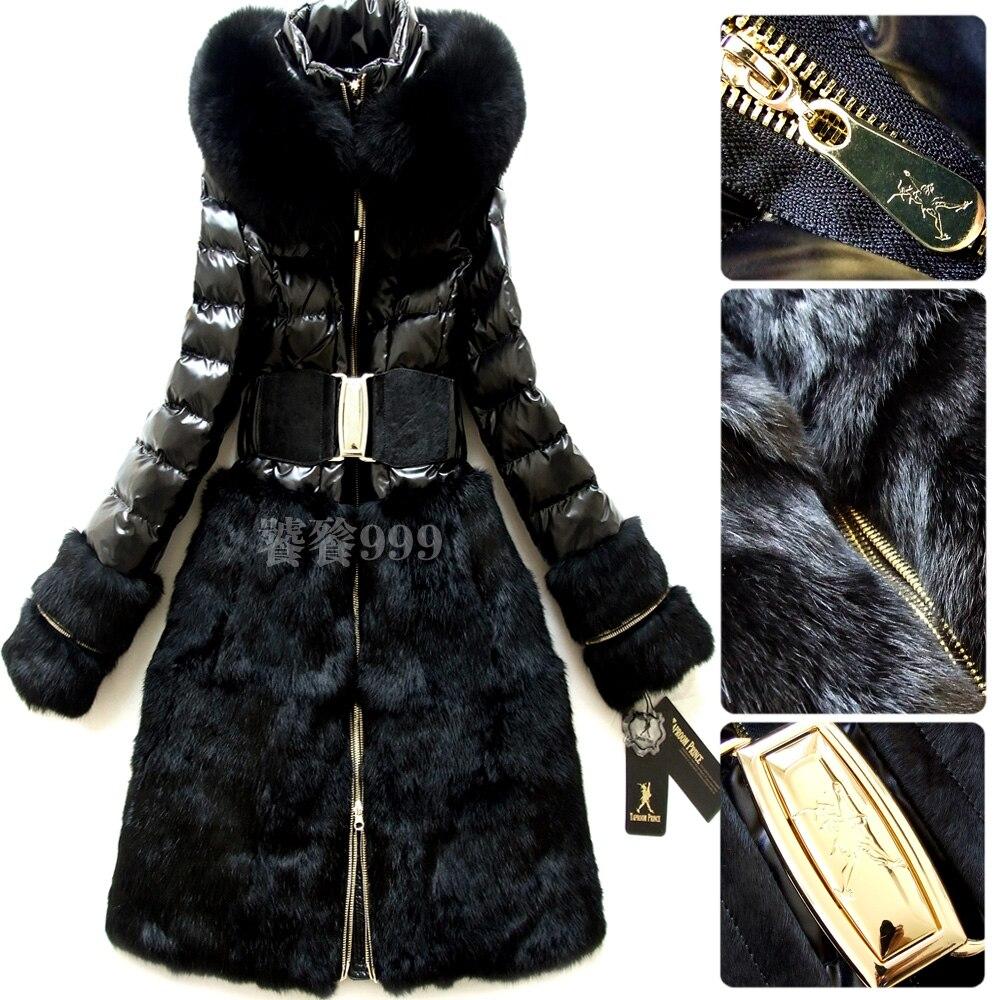 Luxury 2016 Winter Jacket Women Down coat parka fox fur hood black long slim down coat women's outerwear coats parkas brand
