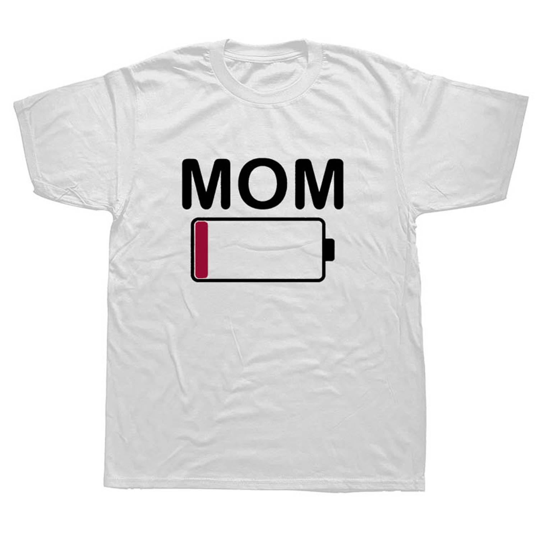 Мама Батарея низкая забавные родителей мать мальчики в стиле хип-хоп классные футболки с коротким рукавом 100% хлопок человек Круглая горлов...