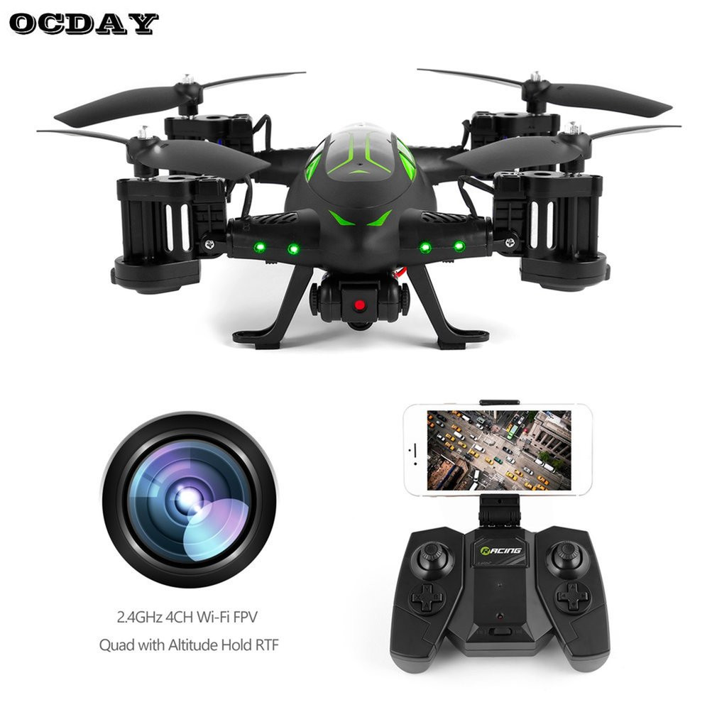 OCDAY Multifunction Mini RC Drone FY602 Air-Road Double RC Flying Car With HD Camera 2.4G 6-Axis 4CH RC Quadcopter Helicopter original jjrc h28 4ch 6 axis gyro removable arms rtf rc quadcopter with one key return headless mode drone