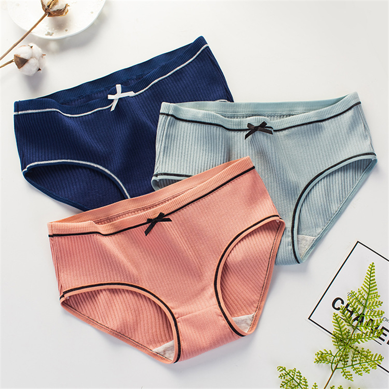 Sexy ladies   panties   striped cotton bow cute sweet girl briefs large size bag hip simple comfortable breathable underwear women