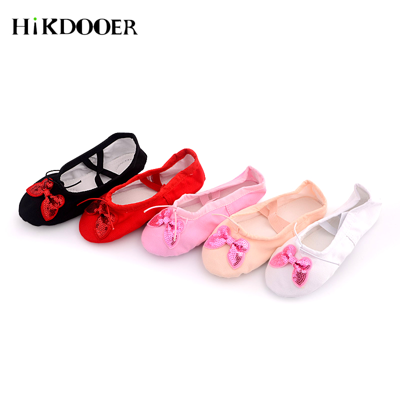 2019 Baby Girl Dance Shoes Bowtie Design Yoga Slippers Gym Teacher Yoga Ballet Dance Shoes For Children Canvas Upper Soft Ballet