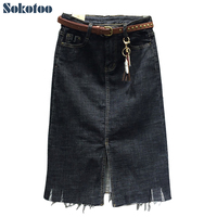 Sokotoo Women S Plus Size Large Straight Stretch Denim Skirt Medium Long Mid Calf Slit Skirt