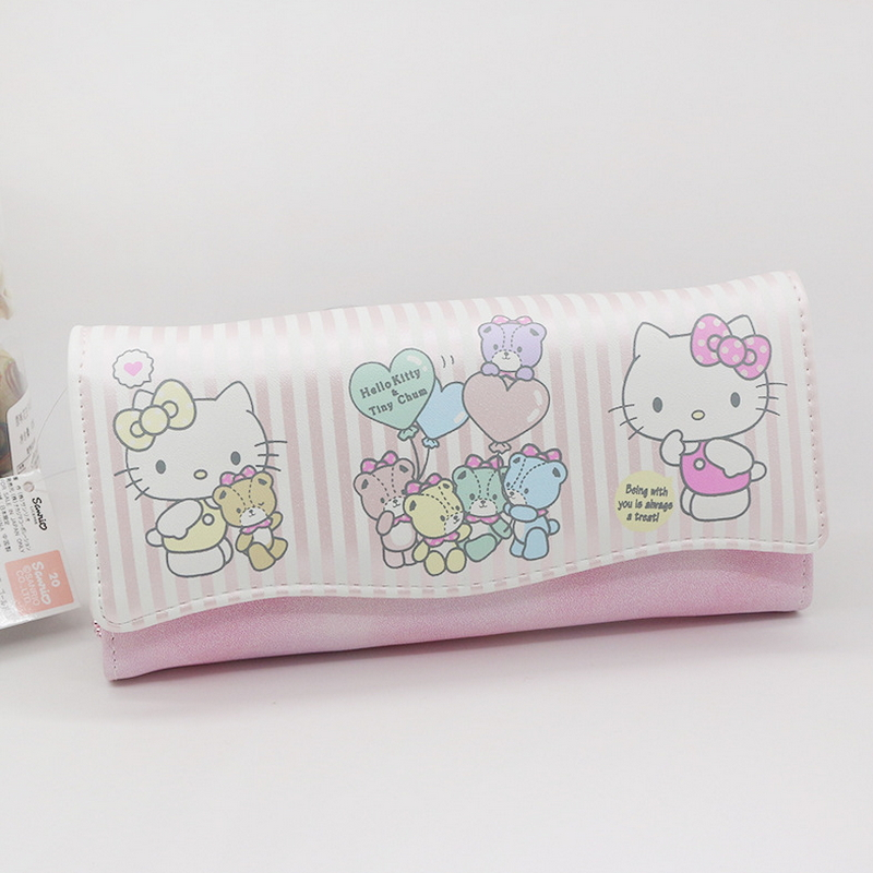 2017 new hello kitty bag stripend cat wallet High quality PU wallet women luxury brand