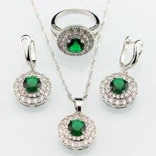 Verde Esmeralda Imitado Blanco Plateado Plata de Las Mujeres Pendientes de Gota Colgante de Collar de Sistemas de La Joyería de Circón Anillos Regalo de la Feliz Navidad