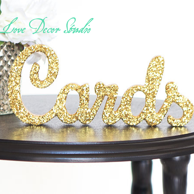 Custom gold Cards Sign for Wedding Table Freestanding \
