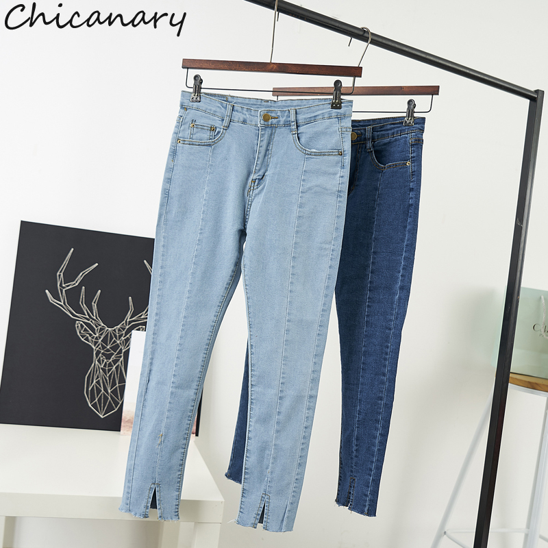 Chicanary 2017 Spring Slit Bottom Women Skinny Jeans Wash Pencil Denim Pants