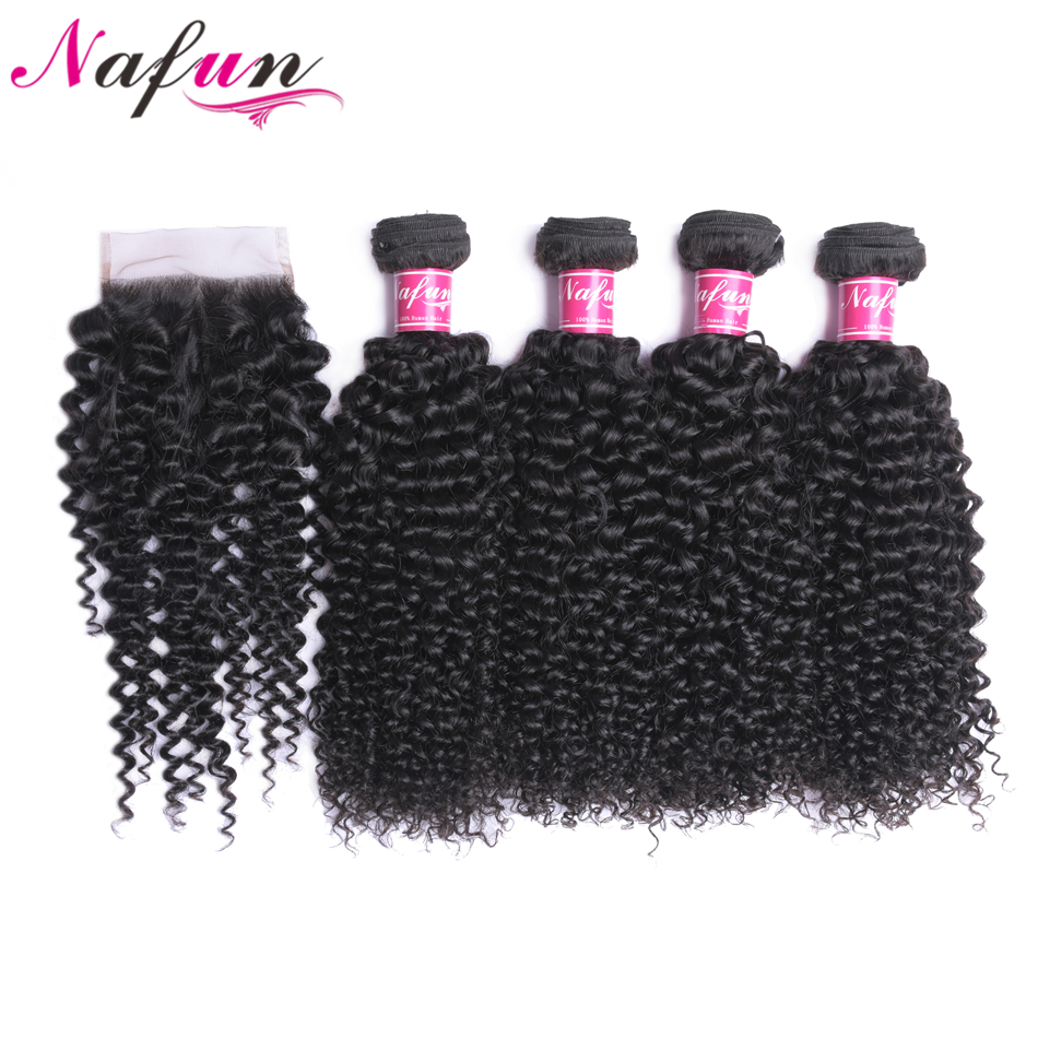 NAFUN Malaysian Hair Weave Kinky Curly Bundles With Closure Non Remy Hair Extension 4 Bundles Human Hair Bundles With Closure