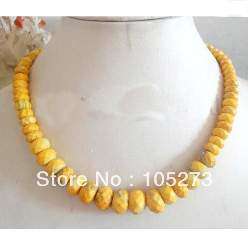 Charming Turquoise Jewelry 18'' Yellow Faceted Rondelle Graduated 8-14mm Turquoise Bead Necklace Fashion Jewellery Free Shipping