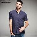 Nueva manera del verano del mens casual camisas de algodón marca clothing hombre slim fit azul ropa masculina desgaste blusa chemise homme
