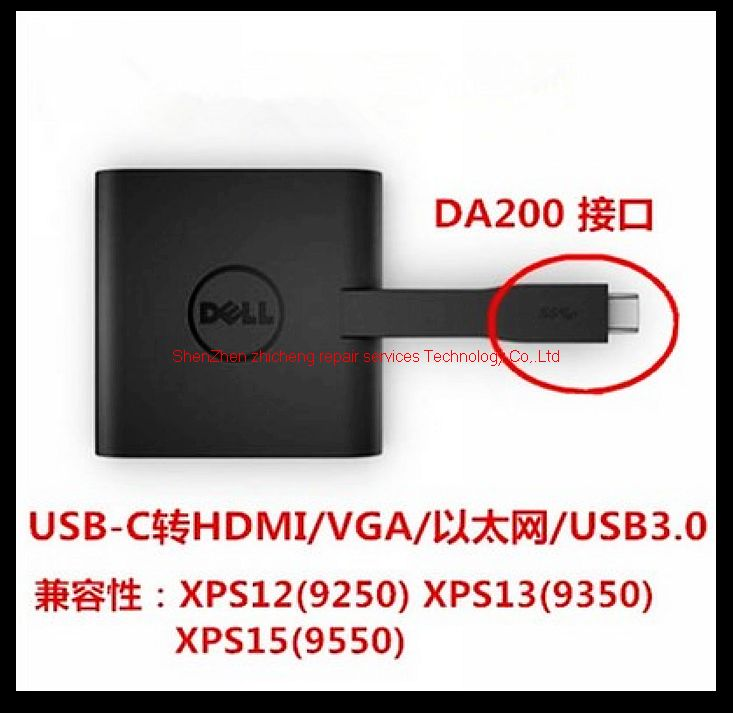 2019 For Dell XPS 12 13 15 DA200 USB Type C To HDMI VGA Ethernet USB3 0  Four In One Adapter Thunderbolt3 From Spidernet, &Price