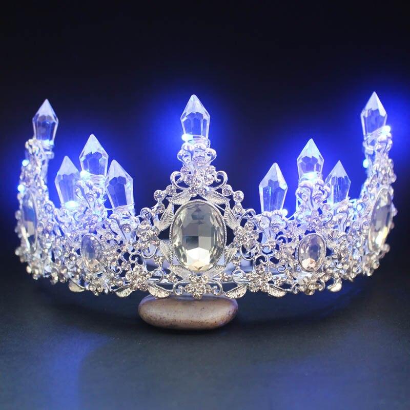 Hot Sale Big Baroque LED Tiara Women Crystal Floral Headdress Rhinestone Light Crowns Wedding Hair Accessories  LB