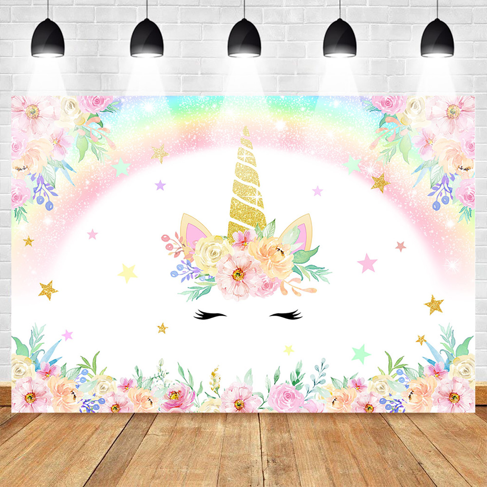 Unicorn Backdrop for Photography Rainbow Birthday Party Photo Background Newborn Baby Flower Backdrops  Studio Supplies Props(China)