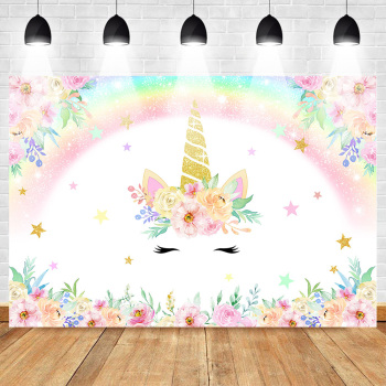 Unicorn Backdrop for Photography Rainbow Birthday Party Photo Background Newborn Baby Flower Backdrops  Studio Supplies Props rainbow sky gold stars unicorn baby shower custom photo backdrops pink photography studio background 7x5ft