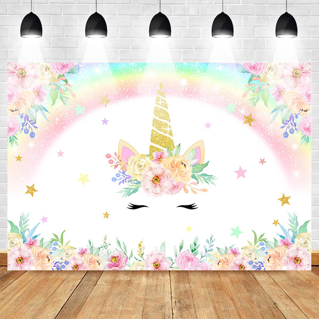 Unicorn Backdrop for Photography Rainbow Birthday Party Photo Background Newborn Baby Flower Backdrops Studio Supplies Props