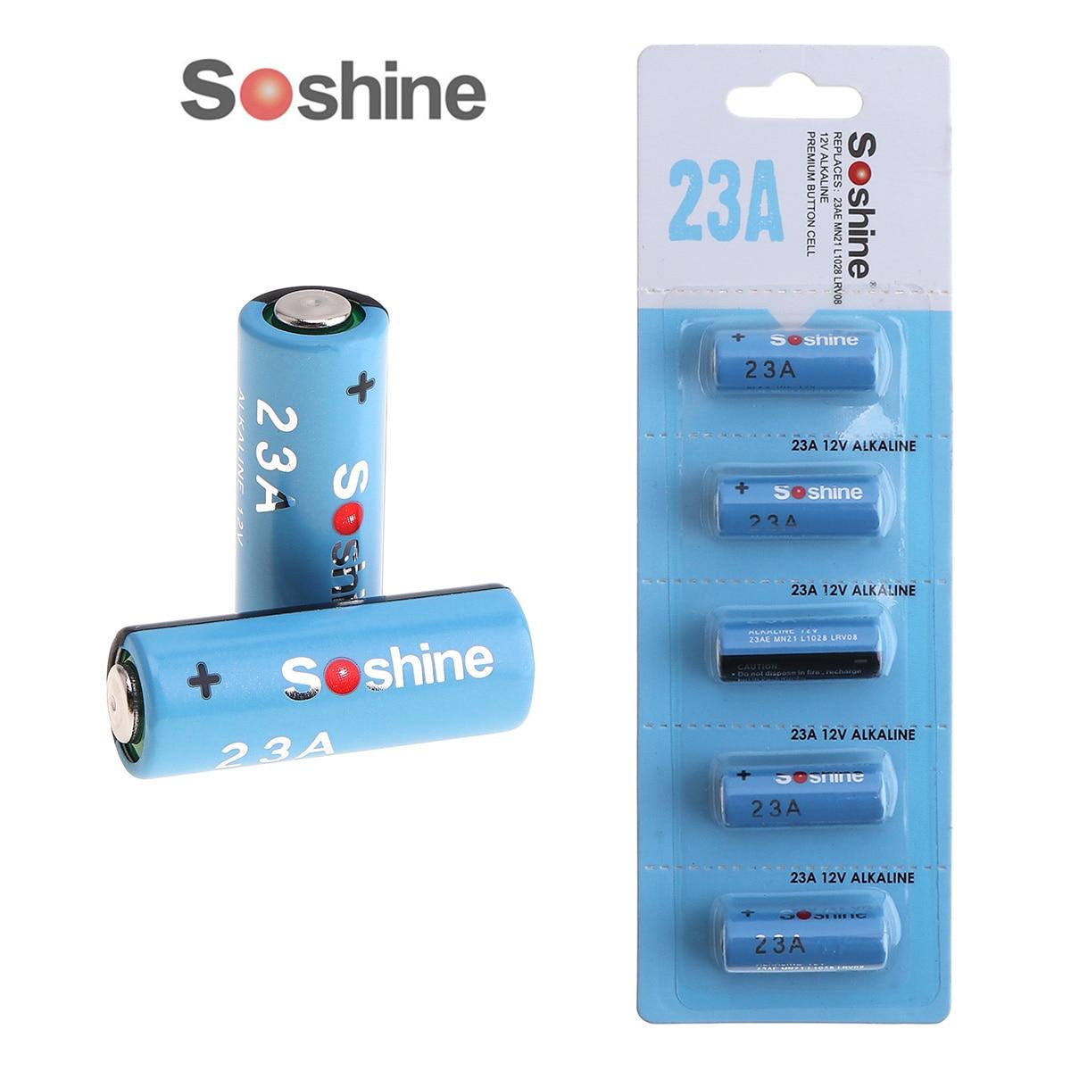 5pcs Soshine 23A 12V Battery High Performance MN21 L1028 LRV08 Alkaline Dry Battery for Remote Control Doorbell Garage Door