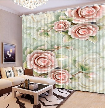3D Curtains Emboss Stereoscopic Flowers Living room Blackout Curtains 3D Curtains For Bedroom Window Decoration