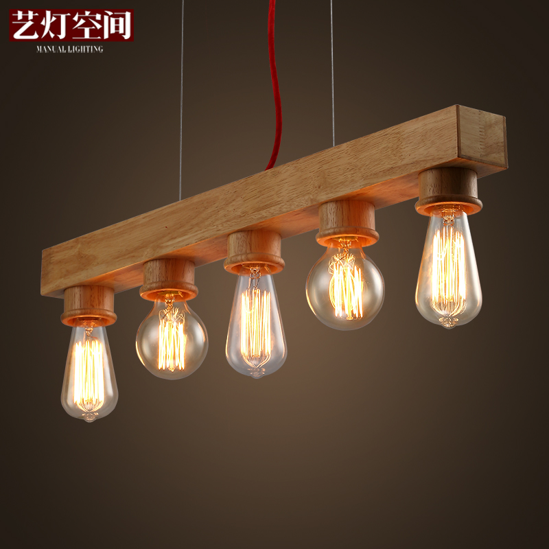 Art lamp space designer personality pendant Cafe Cafe modern simple wood art pendant art lamp