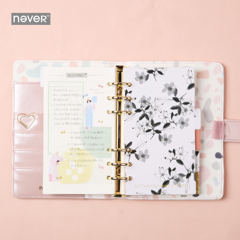 Image 3 - NEVER Light Pink Series Spiral Binder Notebook Korean Grid Dotted Line Paper A6 Planner Diary Personal Note Book Gift StationeryNotebooks   -
